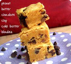 peanut butter chocolate chip cake batter blondies. | girl meets life.