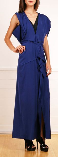 Ruffled Blue Dress.
