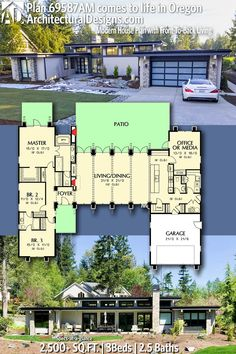 Architectural Designs House Plan 69587AM gives you 3BR, 2.5BA and over 2,500 sq. ft. of heated living space. Ready when you are. Where do YOU want to build? #69587AM #adhouseplans #architecturaldesigns #houseplan #architecture #newhome #newconstruction #newhouse #homedesign #dreamhome #dreamhouse #homeplan #architecture #architect #housegoals #contemporary #modernhouse #modernhome