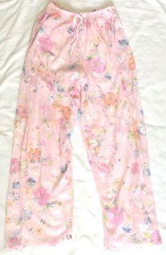Victorias Secret Pink Pajama Lounge Pants Medium Floral Sheer Poly #VictoriasSecret #LoungePantsSleepShorts #Everyday