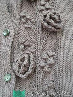 Красивый узор с объемными розами / Вязание