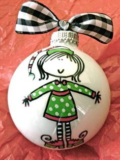 Elf  Hand Painted Personalized Ornament  Polka by HappyYouHappyMe, $14.00