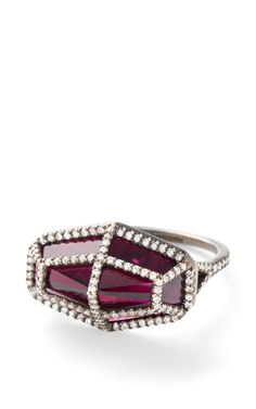 Rhodolite And White Diamond Cage Ring by Monique Péan