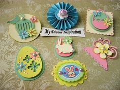 These unique 3D paper embellishments are great for your Easter or Spring scrapbook pages, card making, mini albums, book and box decoration, gift wrapping and any other projects your may have in mind.    They come in a package of seven (7) and they come in pastel colors. They are approximately between 1.5 and 2 1/8. They are ready to ship and I will include a little thank you gift with your purchase.    Have fun using them for your creative projects!    For ideas and inspiration visit my...