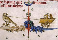 Falcon pulling a fox in a cart marginalia. Pontifical of Guillaume Durand, Avignon, before 1390. Paris, Bibliothèque Sainte-Geneviève, ms. 143, fol. 168r