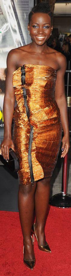 Lupita Nyong'o in Lanvin at the Non-Stop premiere.