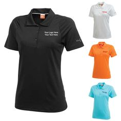 "Customized Women's Golf Duo-Swing Short Sleeve Polo Shirts: Available Colors: Black, Blue Atoll, Vibrant Orange, White Product Size: XS, S, M, L, XL, 2XL. Imprint Area: Centered on Left Chest 3.00"" H x 3.00"" W. Carton Weight: 21.3 lbs. Packaging: 45. Material: Polyester, Elastane Jersey. #customgolfshirt #shortsleevepolo #promotionalproduct"