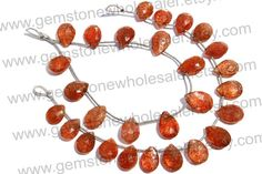 Sunstone Faceted Pear Quality AA /  18 cm / by GemstoneWholesaler, $28.80