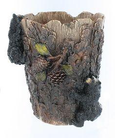 Double Black Bear Tree Bark Pinecone Waste Basket Trash Can Rustic Bathroom | eBay