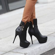 Sexy Fashion Motorcycle High Heels Womens Ankle Cross Strap Stiletto Shoes Boot