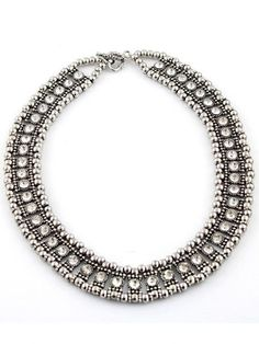 #sheinside Gorgeous Silver Crystal Bead Necklace sheinside.com