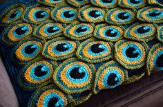 Peacock Pretty Blanket / Afghan / Throw Crochet by kraftling
