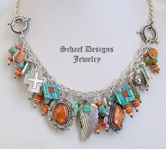 Schaef Designs Turquoise Orange Spiny Oyster & Sterling Silver Charm Bracelet with Bennie Ration Charm   New Mexico   New Mexico