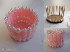 DIY Pearl and Yarn Vase - will use fabric gift ribbon instead of wool