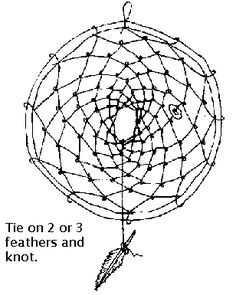 How to make a dream catcher.  Only good dreams pass through the center.  Bad dreams get caught in the web and disappear at sunrise... nativetech.com