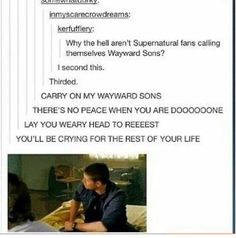 Supernatural wayward sons why aren't we doing this