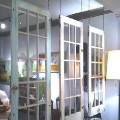 Neat shabby-chic way to separate a room Glass Room Divider, Hanging Room Dividers, Room Divider Doors, Diy Room Divider, Shabby Chic Room Divider, Old Window Projects, Door Dividers, Diy Home Decor, Room Decor
