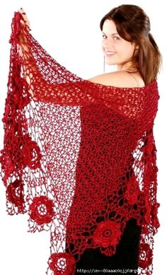 (with diagrams) Crochet Shawls And Wraps, Knitted Shawls, Crochet Scarves, Crochet Clothes, Crochet Wool, Love Crochet, Crochet Stitches, Crochet Shawl Diagram, Crochet Shawl