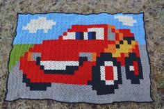 Lightning McQueen (Cars) Granny pixel crochet plaid by hobbyugla - Pattern: https://de.pinterest.com/pin/374291419012071192/