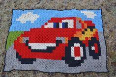 Lightning McQueen (Cars) Granny pixel crochet plaid by hobbyugla - Pattern: https://de.pinterest.com/pin/374291419012071192/
