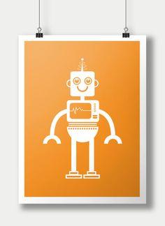 Robot Nursery Wall Art Prints / 8x10 inch / baby boy / boy's room decor / kids art on Etsy, $20.00  #robots #robotart