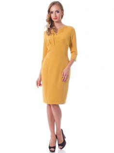 ac912b3c9ab Горчичное платье из стрейч крепа