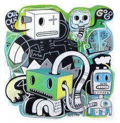 ☮✿★ ROBOTS ✝☯★☮  Le coatch Art Print by Exit Man   Society6