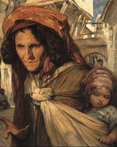 Peinture Algérie - Femme et enfant von Jules (Pierre) van Biesbroeck