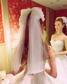 「リボンベールは手作りしました #ベール#アクセサリー#リボン#披露宴#ウェディング#ブライダル#北野クラブ#トリートドレッシング#wedding#bridal#treatdressing#結婚#花嫁」