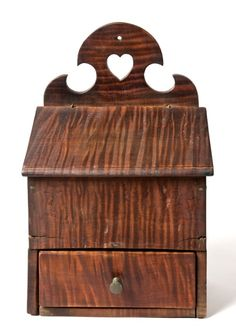"""Exceptional Wall / Salt Box  Prob. Pennsylvania or New York, c. 1790. A tiger-maple one-drawer wall box (or """"salt box"""") with original cut-out heart decoration in fine original condition."""