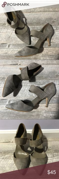 """[Dee Keller] Suede Taupe Gray Heels Gorgeous and incredibly comfortable Dee Keller suede heels.  The color is a grayish taupe. Size 9.  3"""" heel.  The strap attaches with elastic for comfort and a great fit.  There are some signs of wear but tons of life left.  Very chic!  Reasonable offers are always welcome or bundle for savings too 💕 dee keller Shoes Heels"""