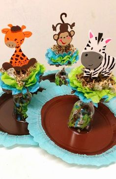 Beautiful Custom made unique for ANY theme! Centerpieces that you don& see in events. They come decorated with a variety of acc. Baby Party, Baby Shower Parties, Baby Shower Themes, Shower Ideas, Jungle Theme Birthday, Safari Theme Party, Baby Theme, Jungle Party, Safari Centerpieces