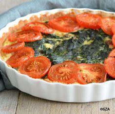 Spinaziequiche met rundergehakt en tomaat. #glutenvrij #sojavrij #koemelkvrij #lactosevrij #pindavrij #fructosearm #tarwevrij