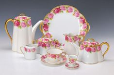 Rosenthal, 'Chrysantheme', Cäcilie, porcelain, coffee pot, tea pot, creamer, lidded sugar bowl, cup& saucer, & more not sow - Beautiful rim of roses on white ground w/ gold gilt trim