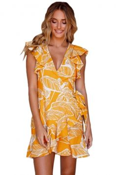987eac4052 Mustard Leaf Vein Print Ruffle and Wrap Short Summer Dress Summer Dresses  Online