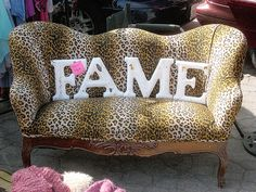 Purrrr!  Vintage Chic Leopard Print Sofa and Industrial Metal Letters. by mseratt99, via Flickr