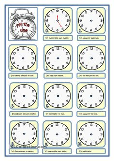 TELL THE TIME English Teaching Materials, Teaching English Grammar, English Grammar Worksheets, Grammar And Vocabulary, Grammar Lessons, English Vocabulary, English Time, Learn English, English Exercises