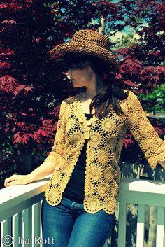 Lace Crochet Motif Cardigan PDF Pattern