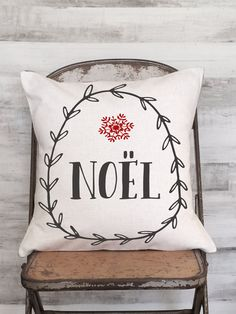 Christmas Pillow Cover Holiday Decor Snowflake Noel by JolieMarche