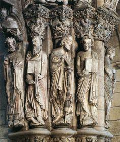 Catedral de Compostela. Pórtico de la Gloria. Detalle de las jambas.