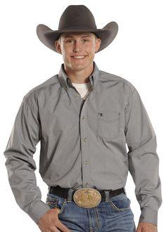 Panhandle Slim Longsleeve Button Shirt Gray Dobby Dot Print [TCD9975]