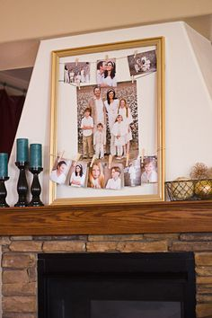 Display family photos with large frame, twine, and clothespins.