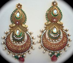 Beautiful & Colorful Polki Studded Earrings by SynasCollection, $42.00