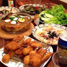 カレードリア❁簡単ピザ❁焼き空豆❁串カツ…買いました(*゚v゚*)