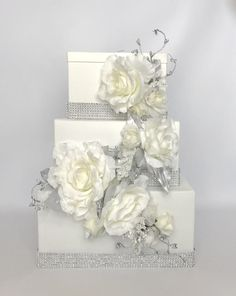 Wedding Card Box Cascade Silver Bling and Ivory by WrapsodyandInk