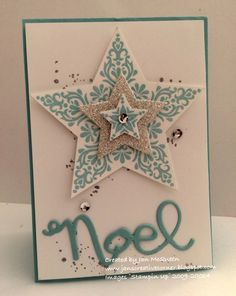 SUO 104 - CAS Stars,  SUO Challenges are looking for a CAS card this week so hope this layered fellow passes muster :-)  Card stock: Pool Party, WW, Silver Glimmer Ink: Versamark, Encore Silver Stamps: Bright & Beautiful, Gorgeous Grunge Access: BS, Star Framelits, Wonderful Wreath Framelits, Pool Party EP, Frosted Sequins