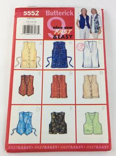 Butterick 5552 Misses Miss Petite Vest 1214 16 Sewing