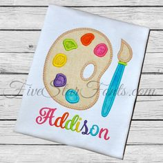 Artist Paint Palette Applique by FiveStarFonts on Etsy Embroidery Fonts, Embroidery Applique, Machine Embroidery Designs, Embroidery Ideas, Birthday Shirts, Birthday Outfits, Applique Monogram, Art Party, Diy Gifts