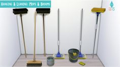 Hanging & Leaning: Mops & Brooms[[MORE]]Details: • Decorations | Clutter | Misc. Decor • §50 Designs: • (2) Mops • (2) Brooms Credit: • Tool: Sims 4 Studio (LOVE) • Mesh: EA Catalog Organization: •...