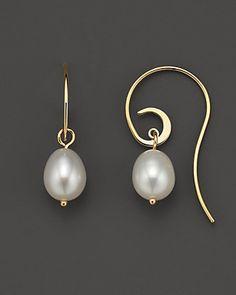 Freshwater Pearl Swirl Wire Earrings, 10 x 8 mm - love the ear wires!